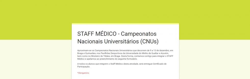 Voluntariado Staff Médico | Campeonatos Nacionais Universitários